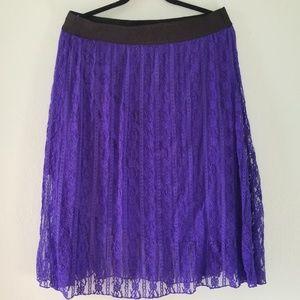 LuLaRoe Lace Lola Midi Skirt Purple